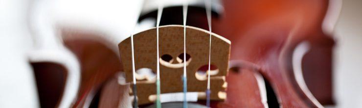 Resetting the bridge on a violin, viola or cello